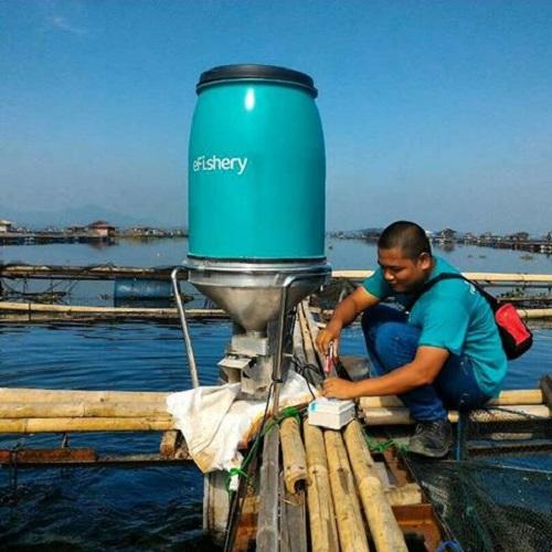 Lắp đặt hệ thống eFishery trên ao nuôi cá. Ảnh: eFishery.
