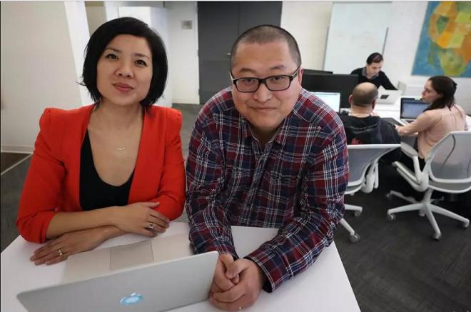 Hai nhà sáng lập startup Suelin Chen (trái) và Mark Zhang (phải)