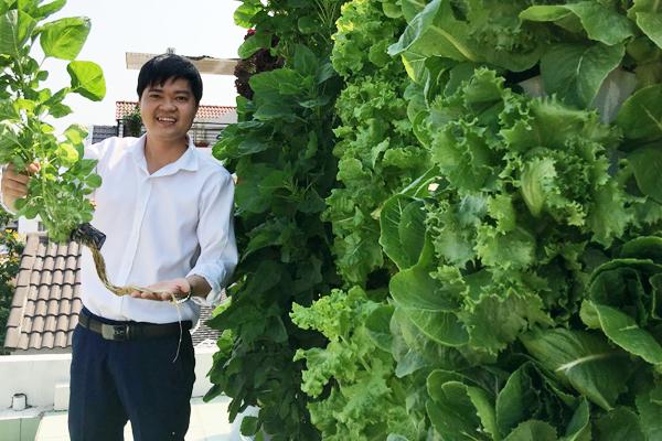 Phạm Văn Minh bên giàn rau thủy canh sử dụng viên nén ươm hạt làm giá thể. Ảnh: NVCC.
