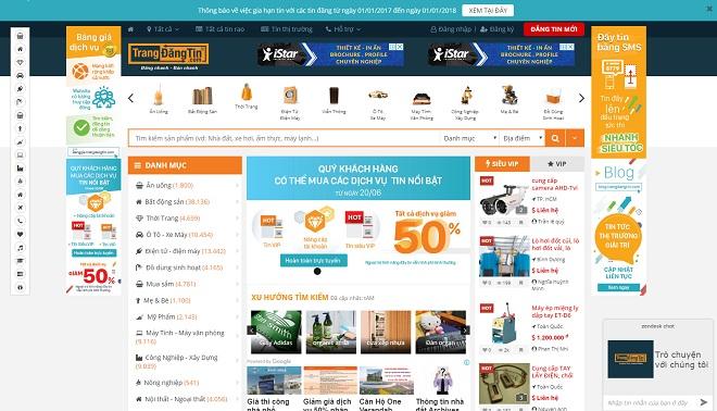 Giao diện trangdangtin.com