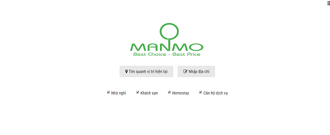 Giao diện chính dành cho người dùng tìm kiếm địa chỉ lưu trú.