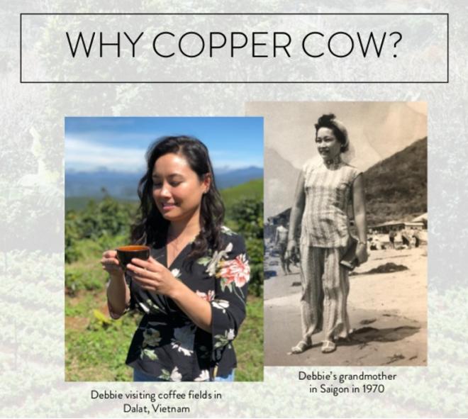 Ảnh phải: Debbie đến thăm cánh đồng cà phê tại Đà Lạt, Việt Nam. Ảnh trái: Bà của Debbie tại Sài Gòn năm 1970.