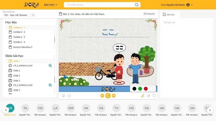 Giao diện phòng học ảo trên website: dora.edu.vn.