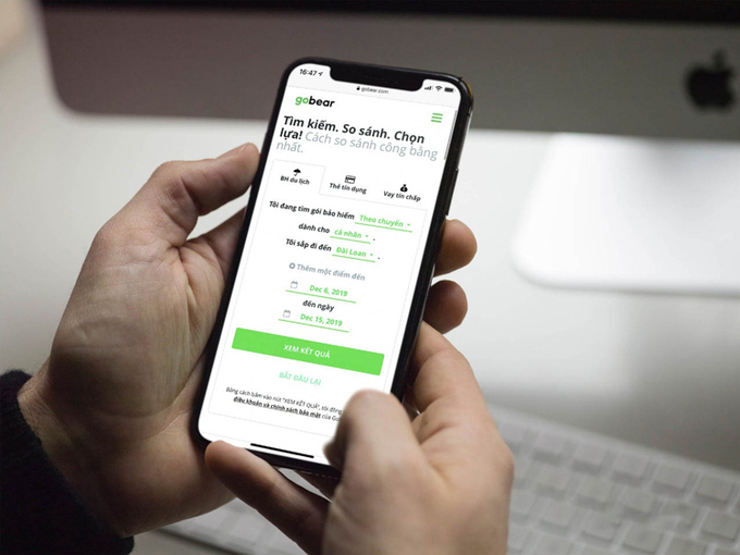 Giao diện tiếng Việt ứng dụng GoBear.